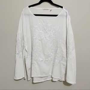Soft surroundings white Cotton Embroidered Top